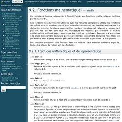 9.2. Fonctions mathématiques — math — documentation Python 2.7.12