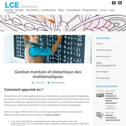 Gestion mentale et didactique des mathématiques