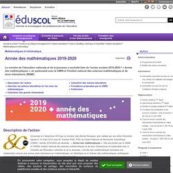 Mathématiques et informatique - Année des mathématiques 2019-2020
