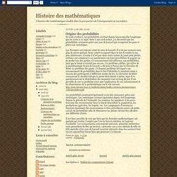 Histoire des mathématiques: Origine des probabilités