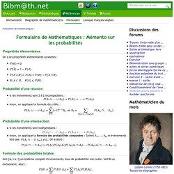 Formulaire de Mathématiques : Mémento sur les probabilités