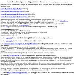 Cours de mathématiques du collège, références diverses
