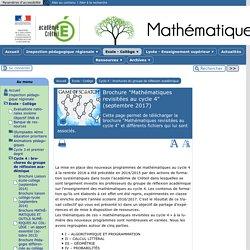 """Brochure """"Mathématiques revisitées au cycle 4"""" (septembre 2017) - [Mathématiques]"""