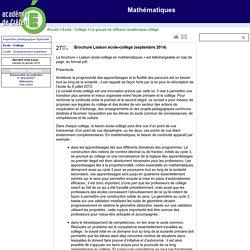 Mathématiques - Brochure Liaison école-collège (septembre 2014)