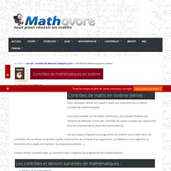 Contrôles de mathématiques en sixième (6ème).Devoirs surveillés de maths sixième