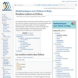 Mathématiques avec Python et Ruby/Nombres entiers en Python