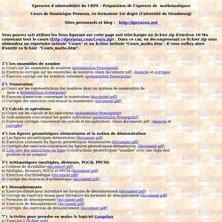 Cours de mathématqiues pour préparer l'épreuve d'admissibilitédu CRPE