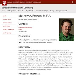 Mathew A. Powers : IU School of Informatics and Computing, IUPUI