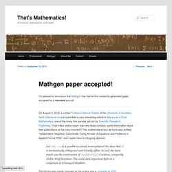Mathgen paper accepted!
