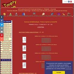 Maths CP-CE1-CE2. L'Addition : Fiches à imprimer PDF