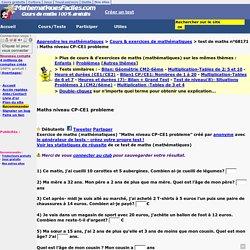 Maths niveau CP-CE1 probleme