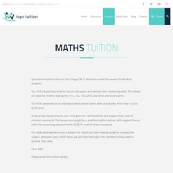 Maths Tuition Key Stage 2 & 3 - Tops Tuition