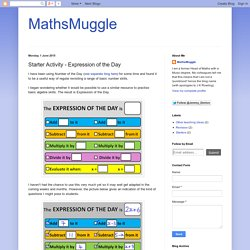 MathsMuggle: Starter Activity - Expression of the Day
