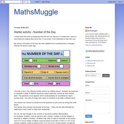 MathsMuggle: Starter activity - Number of the Day
