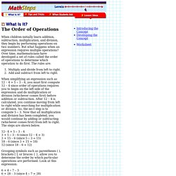 MathSteps: Grade 4: Order of Operations: What Is It?