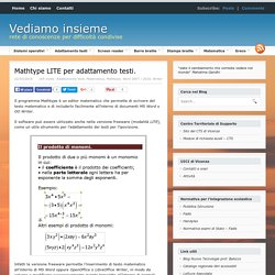 Mathtype LITE per adattamento testi.