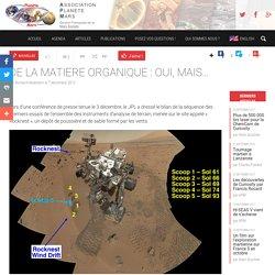 MARS:DE LA MATIERE ORGANIQUE : OUI, MAIS…