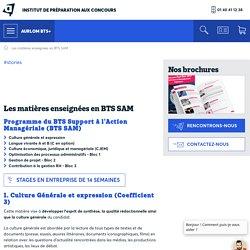 Les matières enseignées en BTS SAM - Prépa Aurlom