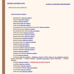 Table des matières du Traité des parties des Animaux et du Traoté de ma marche des animaux