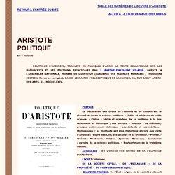Table des matières de la Politique d'Aristote.