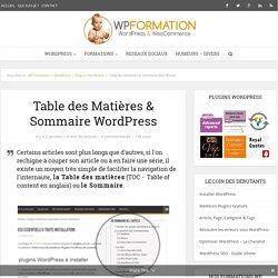 Table des Matières & Sommaire WordPress