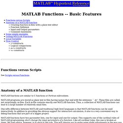 MATLAB Functions -- Basic Features