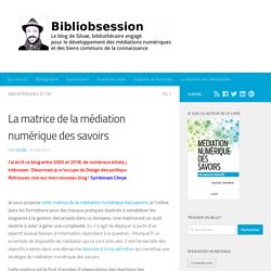 Médiation numérique des savoris_La matrice de la médiation numérique des savoirs _Bibliobsession
