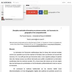 Discipline matricielle et formatrice en sciences sociales : de l'économie à la géographie à l'ère computationnelle