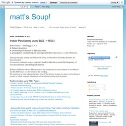 matt's Soup!: Indoor Positioning using BLE -> RSSI