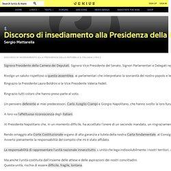 SergioMattarella – Discorso di insediamento alla Presidenza della Repubblica Italiana