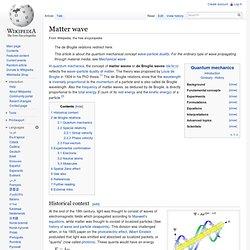 Matter wave