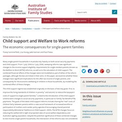 Family Matters - Issue 84 - Child support and Welfare to Work reforms