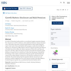 Growth Matters: Disclosure and Risk Premium by Atif Ellahie, Rachel M. Hayes, Marlene Plumlee