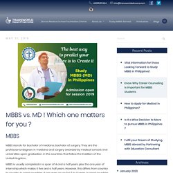 MBBS vs. MD ! Which one matters for you ? - Transworld Educare