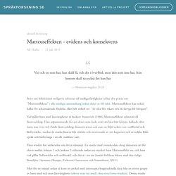 Matteuseffekten - evidens och konsekvens — språkforskning.se