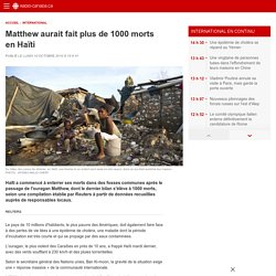 Matthew aurait fait plus de 1000morts en Haïti