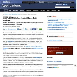 SAP's HANA is hot, but still needs to mature