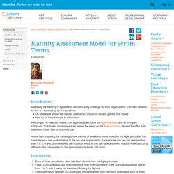 Maturity Assessment Model for Scrum Teams