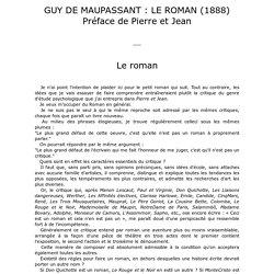 MAUPASSANT : LE ROMAN (1888) Préface de Pierre et Jean