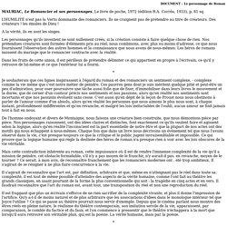 Mauriac, Le romancier et ses personnages.