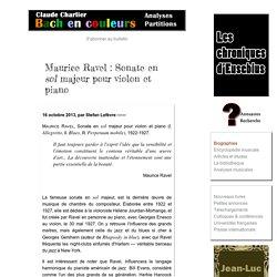 Maurice Ravel, Sonate en sol majeur pour violon et piano