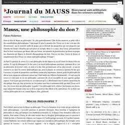 Mauss, une philosophie du don?