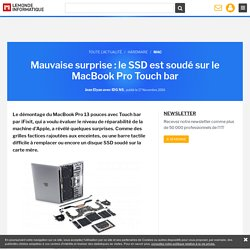 Mauvaise surprise : le SSD est soudé sur le MacBook Pro Touch bar