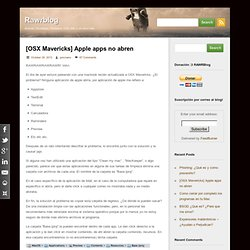 [OSX Mavericks] Apple apps no abren