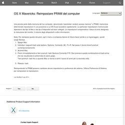 OS X Mavericks: Reimpostare PRAM del computer