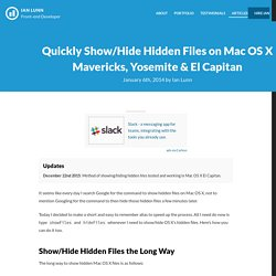 Quickly Show/Hide Hidden Files on Mac OS X Mavericks, Yosemite & El Capitan