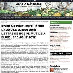POUR MAXIME, MUTILÉ SUR LA ZAD LE 22 MAI 2018 - LETTRE DE ROBIN, MUTILÉ À BURE LE 15 AOÛT 2017.