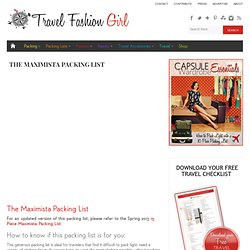 Travel Fashion Girl The Maximista Packing List