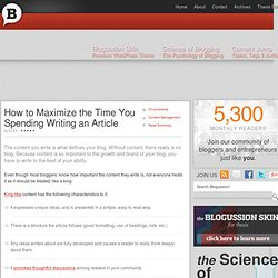 How to Maximize the Time You Spending Writing an Article