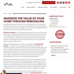 Maximize The Value Of Your Home Through Remodeling